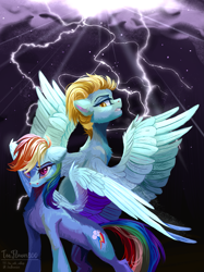 Size: 2023x2706 | Tagged: safe, artist:teaflower300, lightning dust, rainbow dash, pegasus, pony, backwards cutie mark, badass, duo, epic, female, high res, lightning, mare, spread wings, storm, wings