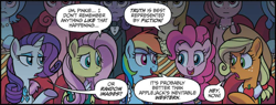 Size: 2406x910 | Tagged: safe, artist:tonyfleecs, idw, applejack, fluttershy, pinkie pie, rainbow dash, rarity, pony, unicorn, spoiler:comic, spoiler:comic66, clothes, cropped, female, mare, speech bubble