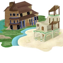 Size: 1024x1024 | Tagged: safe, artist:mr100dragon100, desert, egyptian, houses, swamp, test, water