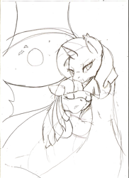 Size: 731x1005 | Tagged: safe, artist:droll3, trixie, twilight sparkle, vampire, female, lesbian, shipping, sketch, twixie