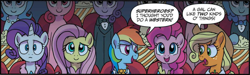 Size: 2410x726 | Tagged: safe, artist:tonyfleecs, idw, applejack, fluttershy, pinkie pie, rainbow dash, rarity, pony, unicorn, spoiler:comic, spoiler:comic66, clothes, cropped, female, mare, speech bubble