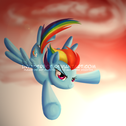 Size: 1400x1400 | Tagged: safe, artist:myhysteria, rainbow dash, pegasus, pony, cloud, female, flying, mare, obtrusive watermark, sky, solo, spread wings, watermark, wings