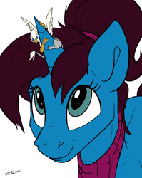 Size: 1234x1549 | Tagged: safe, artist:tinibirb, artist:tsitra360, color edit, edit, oc, oc only, oc:altus bastion, oc:der, griffon, pony, unicorn, clothes, colored, looking up, micro, ponytail, scarf, sketch