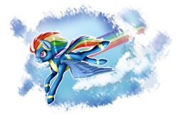 Size: 3000x2000 | Tagged: safe, artist:wolfchen999, rainbow dash, pegasus, pony, clothes, female, flying, mare, simple background, solo, spread wings, transparent background, uniform, wings, wonderbolts uniform