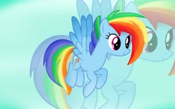 Size: 1952x1220 | Tagged: artist needed, source needed, safe, rainbow dash, pegasus, pony, leak, spoiler:g5, cute, female, flying, g5, mare, rainbow dash (g5), redesign, sky, smiling, solo, wings, zoom layer