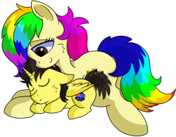 Size: 1280x999 | Tagged: safe, artist:rainbowtashie, oc, oc only, oc:rainbow tashie, oc:tommy the human, alicorn, earth pony, pony, adorabetes, adorable face, alicorn oc, alicornified, australia, australian flag, child, colt, commissioner:bigonionbean, cute, cutie mark, female, foal, male, mare, nintendo 64, nuzzling, ponified, race swap, simple background, sleeping, transparent background, writer:bigonionbean