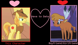 Size: 1024x602 | Tagged: safe, edit, edited screencap, screencap, braeburn, little strongheart, over a barrel, braeheart, female, male, meme, shipping, straight