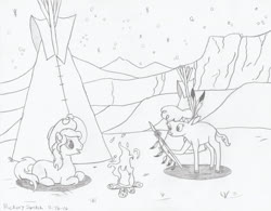 Size: 2775x2161 | Tagged: safe, artist:hickory17, braeburn, little strongheart, oc, oc:hickory switch, buffalo, earth pony, pony, braeheart, campfire, cowboy hat, female, fire, hat, hickory's journey, male, monochrome, night, scenery, shipping, show accurate, sketch, spear, stallion, stars, stetson, straight, tipi, traditional art, weapon
