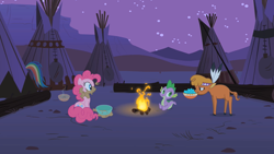 Size: 1280x720 | Tagged: safe, screencap, little strongheart, pinkie pie, spike, buffalo, dragon, earth pony, pony, over a barrel, bowl, campfire, female, male, mare, mouth hold, night, tipi, turquoise