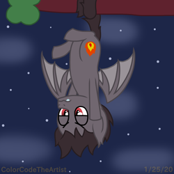 Size: 1536x1536 | Tagged: safe, artist:colorcodetheartist, bat pony, pony, bored, damien thorn, dangling, hanging, hanging by tail, hanging upside down, night, ponified, south park, tree branch