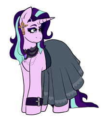 Size: 1024x1144 | Tagged: safe, artist:usagi-kinnie, starlight glimmer, pony, unicorn, clothes, collar, cross, ear piercing, earring, edgelight glimmer, female, goth, jewelry, lace, mare, piercing, raised eyebrow, simple background, skirt, solo, transparent background, wristband