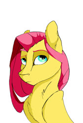 Size: 1350x2000 | Tagged: safe, alternate version, artist:finchina, fluttershy, pony, alternate hairstyle, bust, chest fluff, female, mare, raised eyebrow, simple background, solo, white background