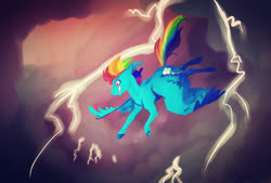 Size: 1280x867 | Tagged: safe, artist:finchina, rainbow dash, pegasus, pony, cloud, cutie mark, female, flying, grin, gritted teeth, lightning, mare, smiling, solo, storm, windswept mane