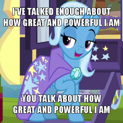 Size: 500x500 | Tagged: safe, edit, edited screencap, screencap, trixie, pony, unicorn, road to friendship, blue eyeshadow, cape, caption, clothes, cropped, great and powerful, image macro, meme, purple eyes, solo, stairs, text, trixie's wagon, wagon