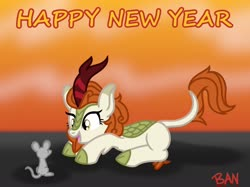 Size: 1600x1199 | Tagged: safe, artist:banquo0, autumn blaze, kirin, rat, awwtumn blaze, chinese new year, cute, female, open mouth, prone, solo, year of the rat