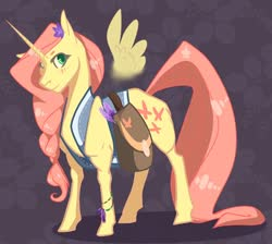 Size: 1266x1136 | Tagged: safe, artist:finchina, fluttershy, pony, unicorn, leak, spoiler:g5, abstract background, bag, blushing, bracelet, braid, clothes, feather, female, floating wings, flower, flower in hair, fluttershy (g5), g5, jewelry, lavender, long tail, looking at you, mare, not an alicorn, saddle bag, solo, unicorn fluttershy, vest, wings