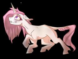 Size: 3024x2299 | Tagged: safe, artist:finchina, princess celestia, pony, unicorn, alternate universe, blank flank, dirty, ear fluff, female, floppy ears, leonine tail, looking up, mare, messy mane, pink-mane celestia, race swap, raised hoof, simple background, solo, transparent background, unicorn celestia, unshorn fetlocks, young celestia, younger