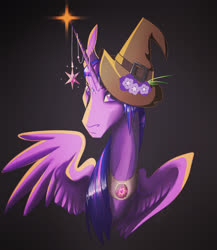 Size: 1647x1898 | Tagged: safe, artist:finchina, twilight sparkle, alicorn, pony, bust, emotionless, female, flower, gradient background, hat, horn, horn jewelry, jewelry, looking at you, mare, peytral, solo, spread wings, stern, twilight sparkle (alicorn), wings, wizard hat