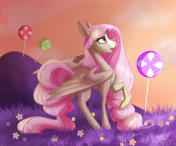 Size: 1024x854   Tagged: safe, artist:finchina, oc, oc only, pegasus, pony, braid, candy, candy land, commission, female, food, long mane, long tail, mare, open mouth, profile, raised hoof, solo, spread wings, wings