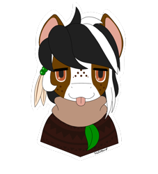Size: 750x825 | Tagged: safe, artist:taletrotter, oc, oc only, oc:mellow mallow, earth pony, pony, :p, asymmetrical mane, chillax, colored, face, faic, feather, femboy, flat color, flat colors, freckles, leaf, male, mellow, mlem, profile, silly, simple background, stallion, tongue out, transparent background