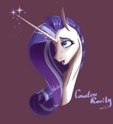 Size: 1501x1655 | Tagged: safe, artist:finchina, rarity, pony, unicorn, the last problem, spoiler:s09e26, bust, countess, female, glowing horn, horn, lidded eyes, long horn, mare, older, older rarity, open mouth, purple background, simple background, solo