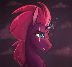 Size: 2400x2241 | Tagged: safe, artist:finchina, tempest shadow, pony, unicorn, broken horn, bust, chest fluff, cloud, eye scar, female, horn, mare, scar, solo, sparking horn