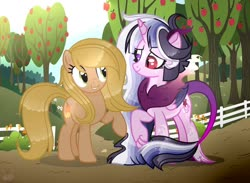 Size: 1024x748 | Tagged: safe, artist:elementbases, artist:manella-art, oc, oc:lucasine sparkle, oc:peach cream, hybrid, apple, apple tree, base used, bush, female, fence, flower, happy, horn, interspecies offspring, looking at each other, next generation, offspring, parent:applejack, parent:caramel, parent:discord, parent:twilight sparkle, parents:carajack, parents:discolight, raised hoof, smiling, sparkly mane, tree, wings