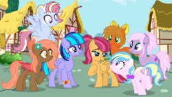 Size: 1280x725   Tagged: safe, artist:razorbladetheunicron, oc, oc:caramel ambrosia, oc:chocolate strawberry, oc:confetti balloon, oc:dewdrop glisten, oc:golden shower, oc:gust clock, oc:lilac, bat pony, earth pony, pegasus, pony, lateverse, base used, bow, bracelet, eyeshadow, facial markings, female, flower, flower in hair, group, hair bow, jewelry, magical lesbian spawn, makeup, mare, next generation, offspring, parent:applejack, parent:birch bucket, parent:cloudchaser, parent:flash sentry, parent:fluttershy, parent:lotus blossom, parent:oc:pumpkin moon, parent:pinkie pie, parent:rainbow dash, parent:twilight sparkle, parent:vinyl scratch, parents:canon x oc, parents:flashlight, parents:lotusbucket, parents:rainbowchaser, parents:vinylpie, ponytail, ponyville