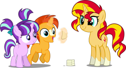 Size: 4806x2610 | Tagged: safe, artist:cheezedoodle96, artist:orin331, artist:xebck, edit, editor:slayerbvc, vector edit, starlight glimmer, sunburst, sunset shimmer, pony, unicorn, blaze (coat marking), brother and sister, colt, colt sunburst, female, filly, filly starlight glimmer, happy, levitation, magic, male, pigtails, ponies wearing sunburst's socks, siblings, simple background, smiling, sockless sunburst, socks (coat marking), sunny siblings, teenager, telekinesis, transparent background, vector, younger