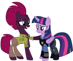Size: 12012x10137 | Tagged: safe, artist:ejlightning007arts, edit, tempest shadow, twilight sparkle, alicorn, unicorn, my little pony: the movie, base used, broken horn, clothes, cosplay, costume, eye scar, female, fixed, hawaiian shirt, hoof on shoulder, horn, judy hopps, lesbian, mare, necktie, nick wilde, police, police officer, police uniform, scar, second version, shipping, shirt, simple background, smiling, tempestlight, transparent background, twilight sparkle (alicorn), vector, zootopia
