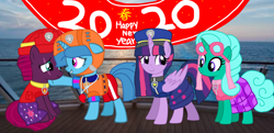 Size: 2186x1054 | Tagged: safe, artist:徐詩珮, fizzlepop berrytwist, glitter drops, spring rain, tempest shadow, twilight sparkle, alicorn, unicorn, series:sprglitemplight diary, series:sprglitemplight life jacket days, series:springshadowdrops diary, series:springshadowdrops life jacket days, alternate universe, base used, bisexual, broken horn, clothes, cute, equestria girls outfit, female, glitterbetes, glitterlight, glittershadow, happy new year, happy new year 2020, holiday, horn, lesbian, lifeguard, lifeguard spring rain, paw patrol, polyamory, shipping, sprglitemplight, springbetes, springdrops, springlight, springshadow, springshadowdrops, swimsuit, tempestbetes, tempestlight, twilight sparkle (alicorn)