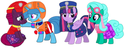 Size: 2194x867 | Tagged: safe, artist:徐詩珮, fizzlepop berrytwist, glitter drops, spring rain, tempest shadow, twilight sparkle, alicorn, unicorn, series:sprglitemplight diary, series:sprglitemplight life jacket days, series:springshadowdrops diary, series:springshadowdrops life jacket days, alternate universe, bisexual, broken horn, clothes, cute, equestria girls outfit, female, glitterbetes, glitterlight, glittershadow, horn, lesbian, lifeguard, lifeguard spring rain, paw patrol, polyamory, shipping, simple background, sprglitemplight, springbetes, springdrops, springlight, springshadow, springshadowdrops, swimsuit, tempestbetes, tempestlight, transparent background, twilight sparkle (alicorn), vector