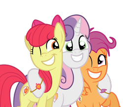 Size: 2046x1774 | Tagged: safe, artist:squipycheetah, apple bloom, scootaloo, sweetie belle, earth pony, pegasus, pony, unicorn, growing up is hard to do, adorabloom, alternate cutie mark, bipedal, bracelet, cute, cutealoo, cutie mark, cutie mark crusaders, diasweetes, female, gritted teeth, happy, hug, jewelry, lesbian, mare, older, older apple bloom, older cmc, older scootaloo, older sweetie belle, one eye closed, ot3, polyamory, scootabelle, scootabloom, shipping, simple background, smiling, sweetiebloom, sweetiebloomaloo, teeth, the cmc's cutie marks, transparent background, trio, trio female, vector, wedding band