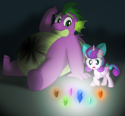 Size: 4793x4440 | Tagged: safe, artist:aleximusprime, princess flurry heart, spike, flurry heart's story, adult, adult spike, belly, bow, burn marks, chubby, crystal, duo, element of generosity, element of honesty, element of kindness, element of laughter, element of loyalty, element of magic, elements of harmony, fat, fat spike, filly, filly flurry heart, gem, glow, grownup spike, injured, older, older spike, plump, shards, surprised, teaser art