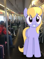 Size: 2448x3264 | Tagged: safe, cloud kicker, pegasus, pony, irl, looking at you, new york city, new york city subway, photo, ponies in real life, train