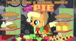 Size: 1920x1052 | Tagged: safe, artist:poowis, applejack, earth pony, pony, the best night ever, apple, apple fries, apple fritter (food), apple pie, caramel apple (food), cover art, cupcake, cute, female, food, food stand, french fries, jackabetes, mare, my little remix, pie, pinkie cake, soda, solo, text