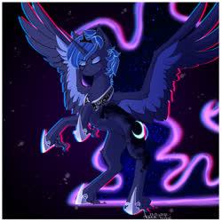 Size: 2049x2049 | Tagged: safe, artist:wolfythewolf555, princess luna, alicorn, pony, chest fluff, digital art, ear fluff, eyes closed, female, mare, rearing, unshorn fetlocks