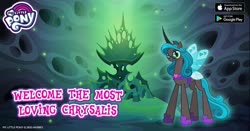 Size: 960x504 | Tagged: safe, idw, queen chrysalis, changeling, changeling queen, reflections, spoiler:comic, facebook, female, gameloft, glasses, idw showified, lidded eyes, looking at you, my little pony logo, reversalis, solo, text, throne, wings
