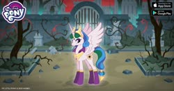 Size: 960x504 | Tagged: safe, idw, princess celestia, alicorn, pony, reflections, spoiler:comic, angry, crown, evil celestia, facebook, female, gameloft, gate, idw showified, jewelry, looking at you, mare, my little pony logo, regalia, solo, thorns, tree