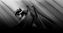 Size: 3219x1700 | Tagged: safe, artist:zedrin, oc, oc only, oc:storm shock, bat pony, angery, angry, bat pony oc, glowing eyes, monochrome, solo