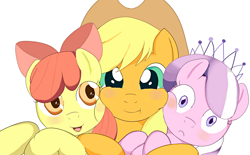 Size: 1200x743 | Tagged: safe, artist:yellow-kantera, apple bloom, applejack, diamond tiara, pony, hug, simple background, white background