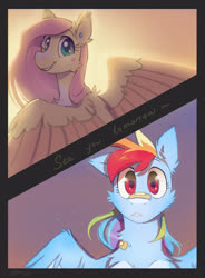 Size: 2719x3693 | Tagged: safe, artist:avaroncave, fluttershy, rainbow dash, pegasus, pony, backlighting, bandaid, cute, dashabetes, female, flutterdash, happy, lesbian, looking at each other, mare, shipping, shyabetes, smiling, spread wings, wings