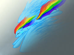 Size: 640x480 | Tagged: safe, artist:ask1deidara1anything, rainbow dash, pegasus, pony, fast, female, mare, teary eyes, wings
