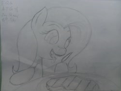 Size: 4101x3089 | Tagged: safe, artist:riskypony, fluttershy, fangs, food, fork, knife, meat, traditional art