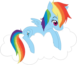 Size: 796x672 | Tagged: safe, artist:princess-hanners, rainbow dash, pegasus, pony, cloud, cute, female, mare, on a cloud, sitting, sitting on cloud