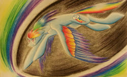 Size: 2813x1716 | Tagged: safe, artist:sparklemongoose, rainbow dash, pegasus, pony, badass, colored wings, cool, fast, female, flying, mare, multicolored wings, rainbow wings, solo, wings