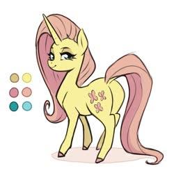 Size: 765x752 | Tagged: safe, artist:sorcerushorserus, fluttershy, pony, leak, spoiler:g5, female, g5, mare, redesign, solo, unicorn fluttershy
