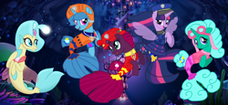 Size: 2340x1080 | Tagged: safe, artist:徐詩珮, fizzlepop berrytwist, glitter drops, princess skystar, spring rain, tempest shadow, twilight sparkle, alicorn, seapony (g4), unicorn, series:sprglitemplight diary, series:sprglitemplight life jacket days, series:springshadowdrops diary, series:springshadowdrops life jacket days, my little pony: the movie, alternate universe, bisexual, broken horn, clothes, cute, equestria girls outfit, female, glitterbetes, glitterlight, glittershadow, horn, lesbian, lifeguard, lifeguard spring rain, paw patrol, polyamory, seaponified, seapony glitter drops, seapony spring rain, seapony tempest shadow, seapony twilight, shipping, species swap, sprglitemplight, springbetes, springdrops, springlight, springshadow, springshadowdrops, swimsuit, tempestbetes, tempestlight, twilight sparkle (alicorn)