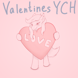 Size: 4096x4096 | Tagged: safe, artist:noxfurybox, pony, advertisement, auction, blushing, commission, cute, heart, holiday, solo, valentine, valentine's day, ych example, your character here