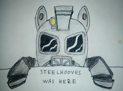 Size: 2448x1823 | Tagged: safe, artist:überreaktor, oc, earth pony, ghoul, pony, undead, fallout equestria, armor, canterlot ghoul, hooves, kilroy, kilroy was here, power armor, solo, text, traditional art